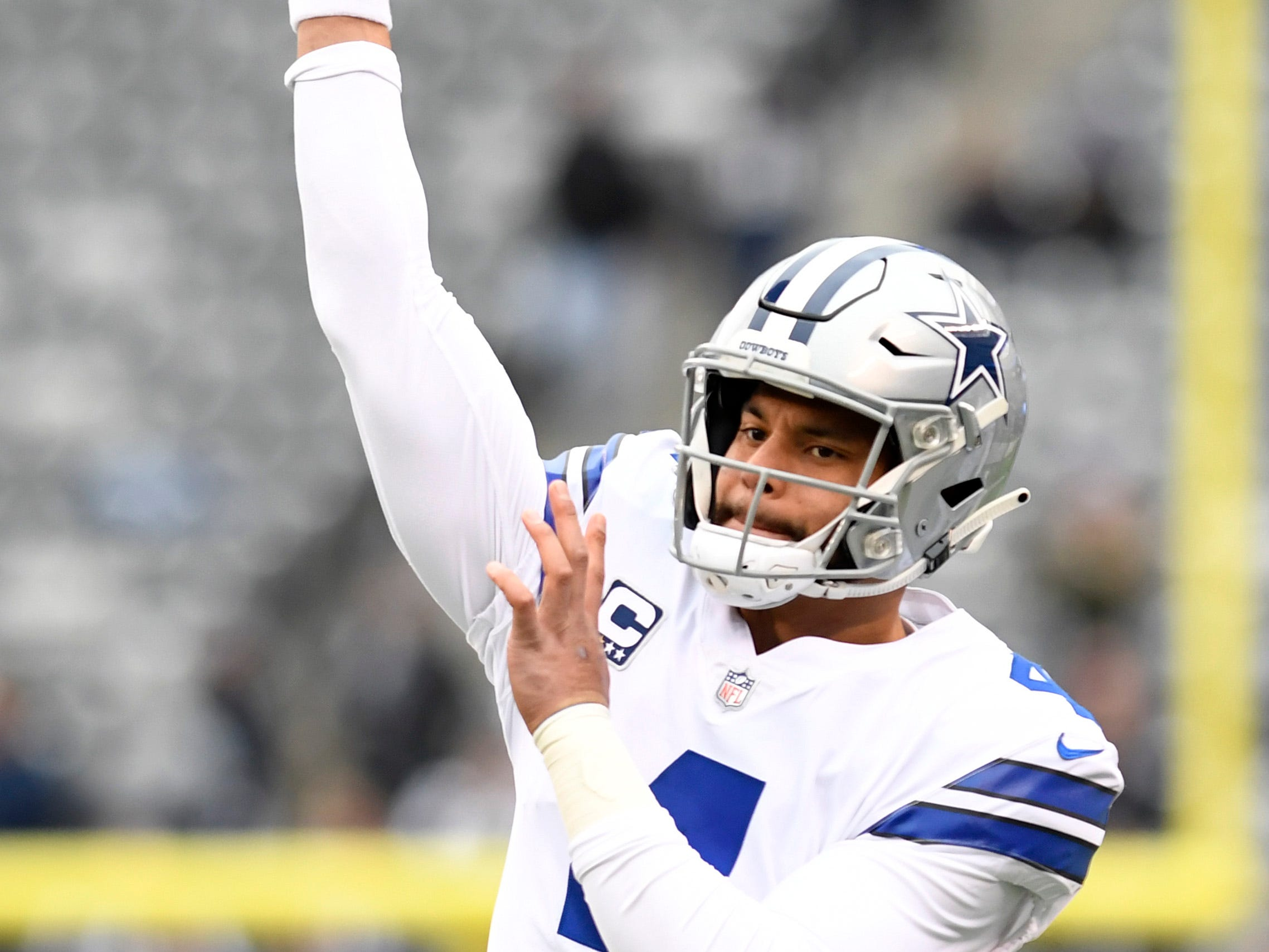 Dallas Cowboys quarterback Dak Prescott (4) throws the ball during warmups. The New York Giants face the Dallas Cowboys in the last regular season game on Sunday, Dec. 30, 2018, in East Rutherford.