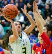 Mayfield High School's Alyssa Madrid takes a shot on Saturday, Dec. 29, 2018, during the Holiday Hoopla Championship game at MHS.