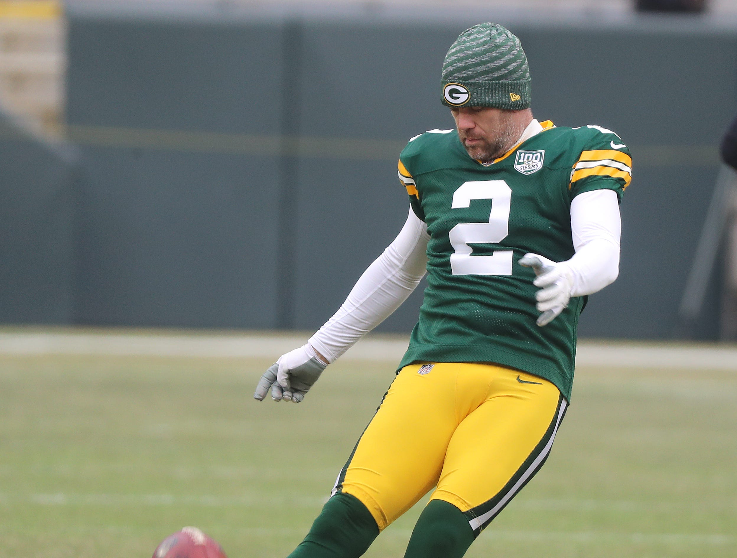 Green Bay Packers kicker Mason Crosby (2) warms up before the game against the Detroit Lions at Lambeau Field Sunday, December 30, 2018 in Green Bay, Wis.