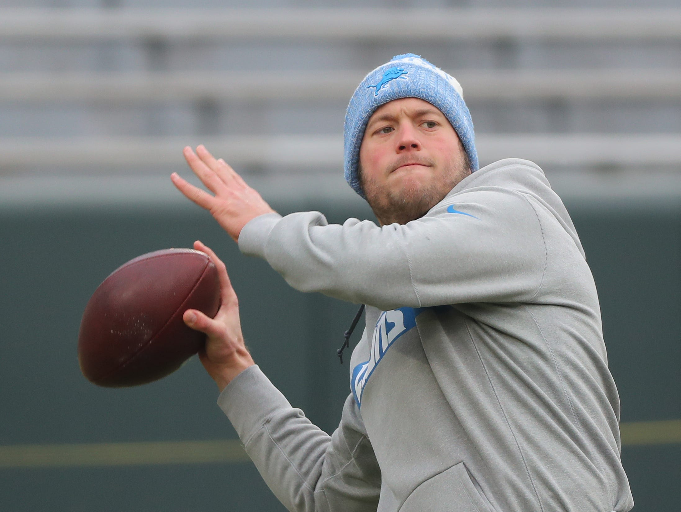 Detroit Lions quarterback Matthew Stafford (9) warms up before the game against the Packers at Lambeau Field Sunday, December 30, 2018 in Green Bay, Wis.