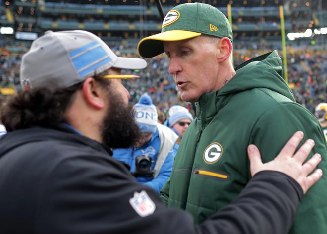 The Green Bay Packers' interim head coach Joe Philbin meets with Detroit head coach Matt Patricia following Green Bay's 31 to 0 loss to the Detroit Lions during their football game on Sunday, December 30, 2018, at Lambeau Field in Green Bay, Wis. Wm. Glasheen/USA TODAY NETWORK-Wisconsin.