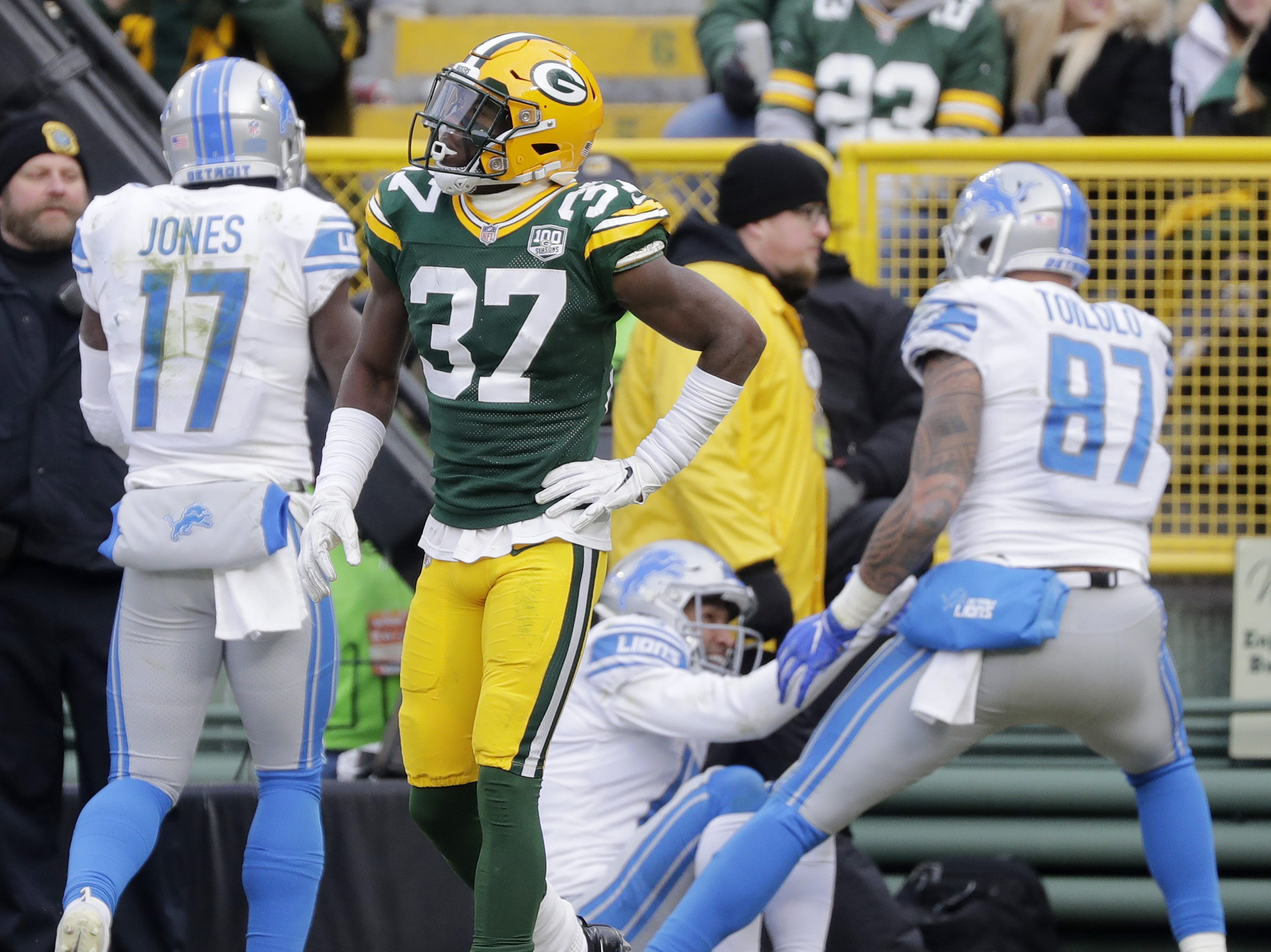Green Bay Packers cornerback Josh Jackson (37) walks away after Detroit Lions wide receiver T.J. Jones (13) caught touchdown pass beyond Jackson's coverage in the fourth quarter at Lambeau Field on Sunday, December 30, 2018 in Green Bay, Wis. Adam Wesley/USA TODAY NETWORK-Wis