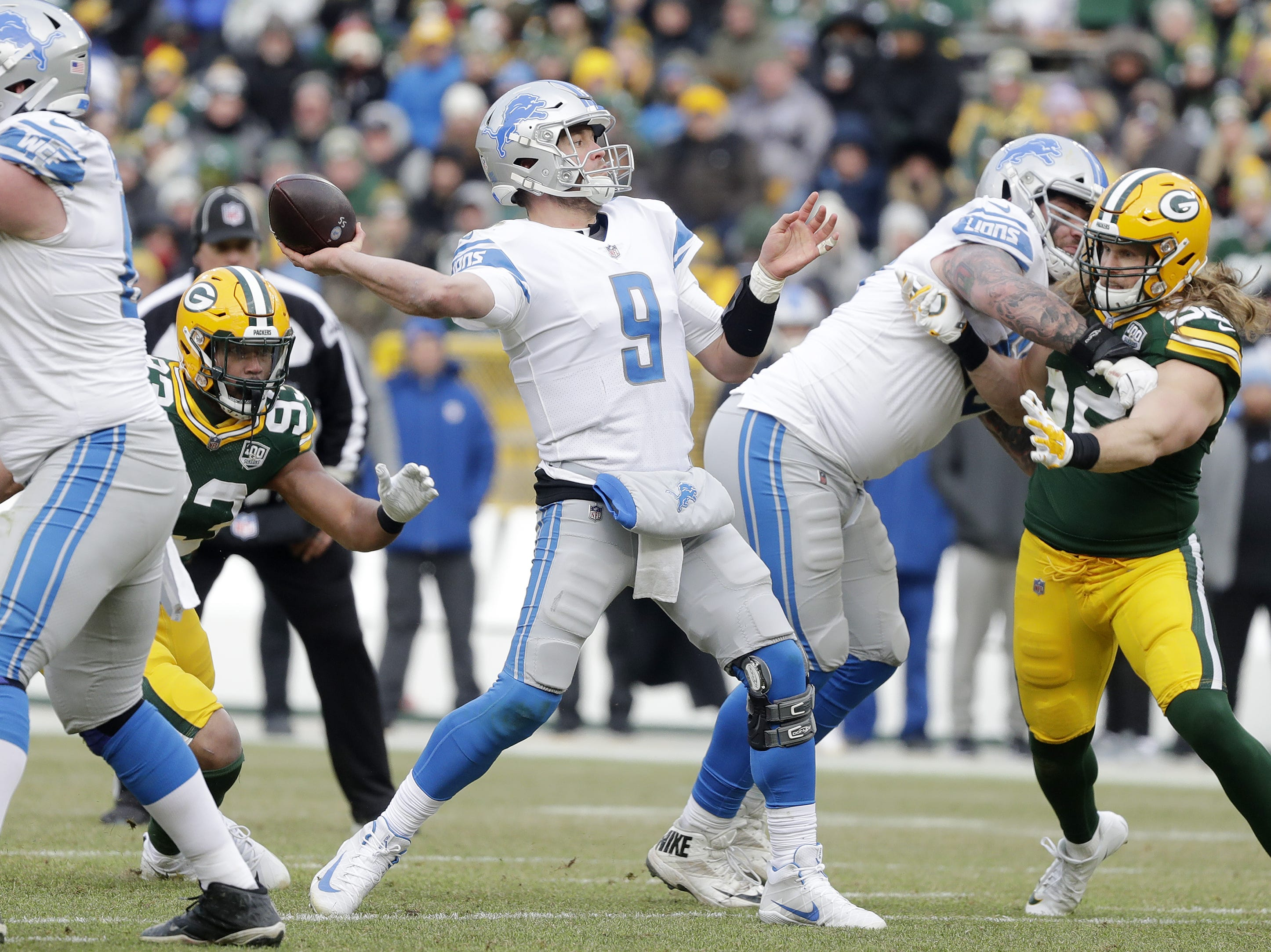 Detroit Lions quarterback Matthew Stafford (9) throws against the Green Bay Packers in the fourth quarter at Lambeau Field on Sunday, December 30, 2018 in Green Bay, Wis. Adam Wesley/USA TODAY NETWORK-Wis