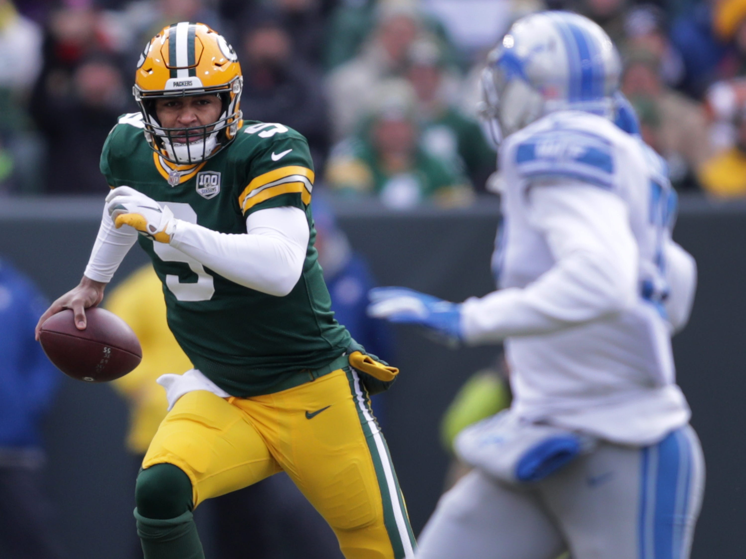 Green Bay Packers quarterback DeShone Kizer in the  second quarter against the Detroit Lions during their football game on Sunday, December 30, 2018, at Lambeau Field in Green Bay, Wis. Wm. Glasheen/USA TODAY NETWORK-Wisconsin.
