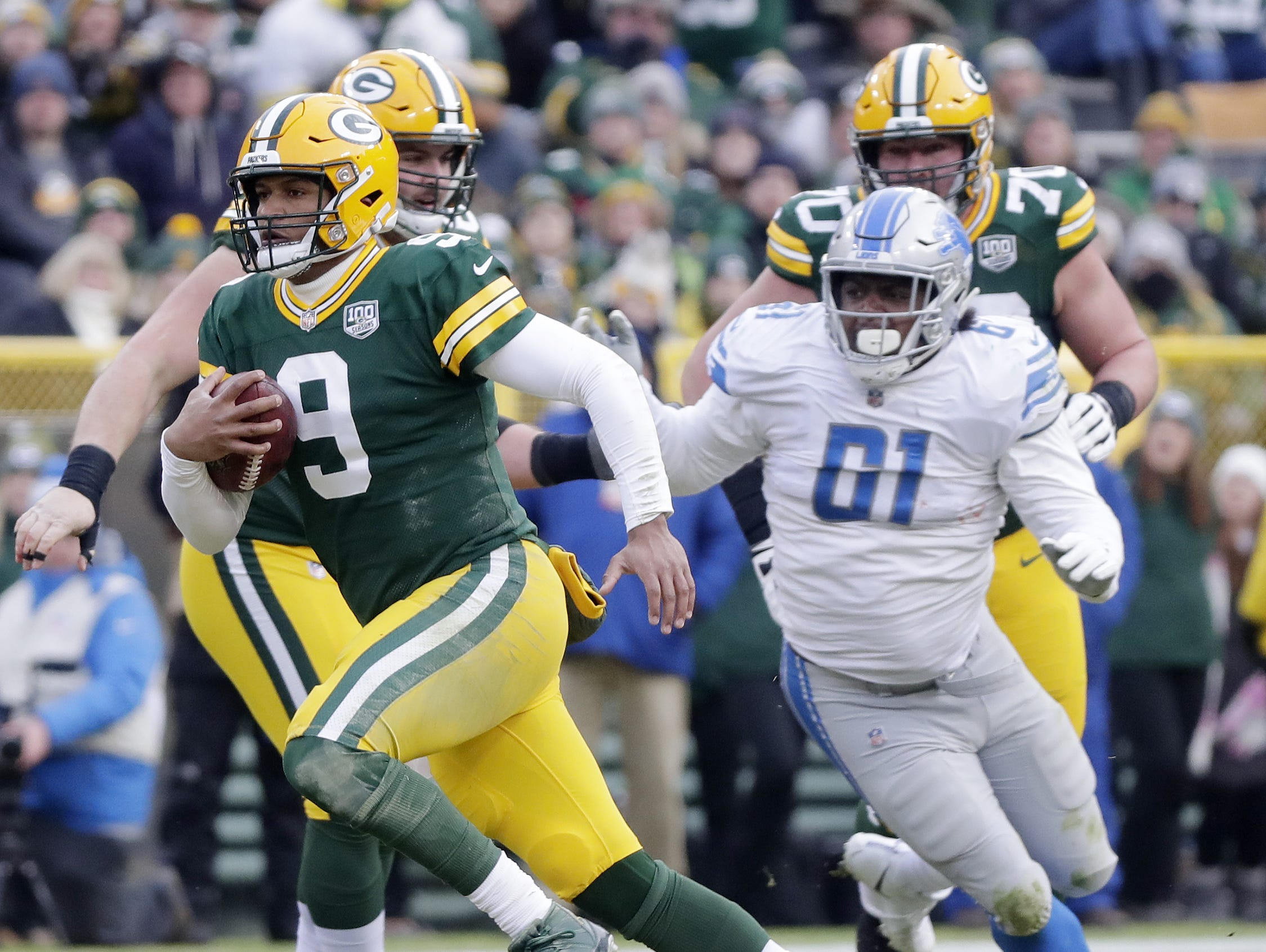 Green Bay Packers quarterback DeShone Kizer (9) scrambles for a first down against the Detroit Lions in the fourth quarter at Lambeau Field on Sunday, December 30, 2018 in Green Bay, Wis. Adam Wesley/USA TODAY NETWORK-Wis