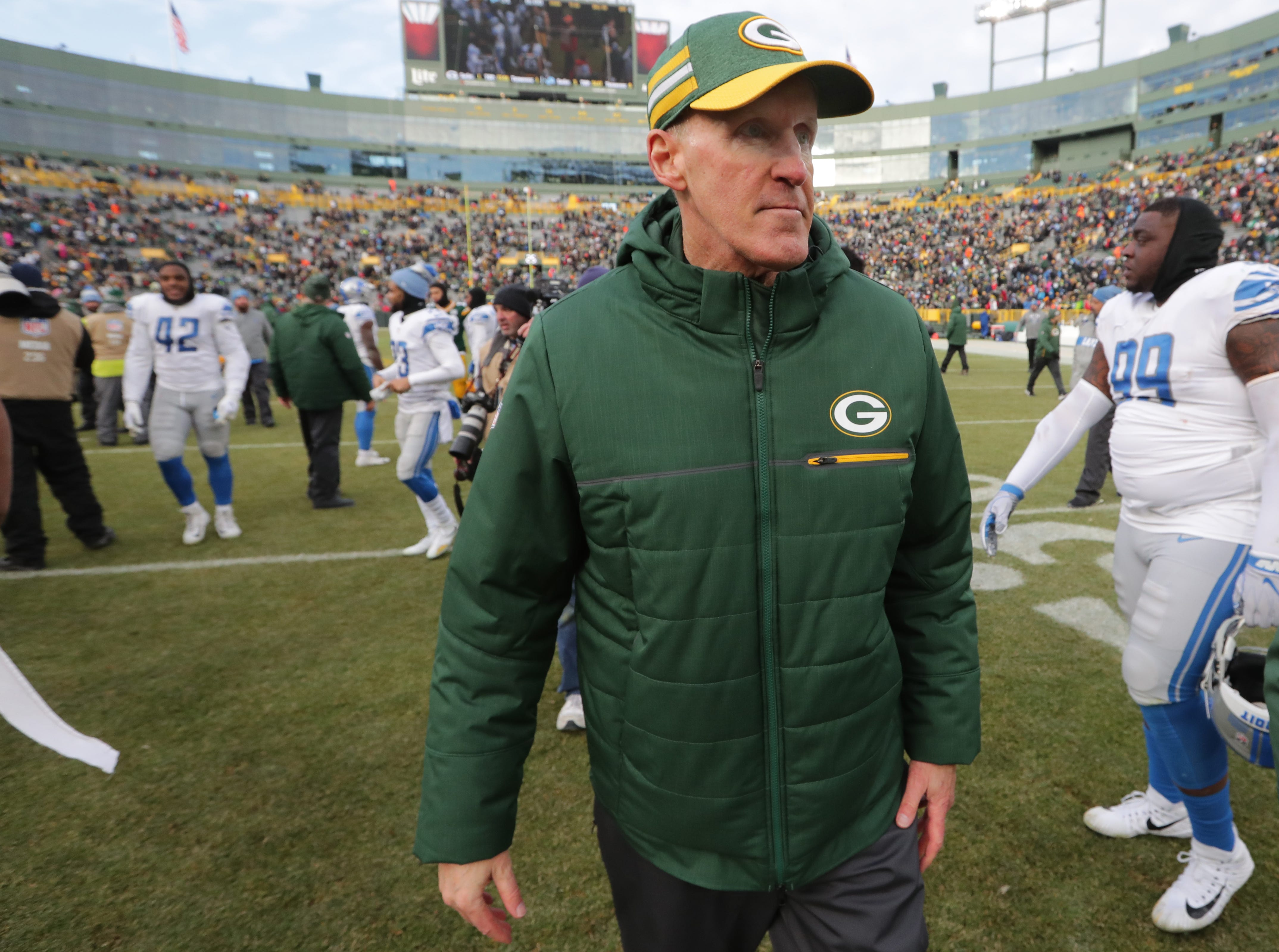 Green Bay Packers interim head coach Joe Philbin leaves the field after their game Sunday, December 30, 2018 at Lambeau Field in Green Bay, Wis. The Detroit Lions beat the Green Bay Packers 31-0.  MARK HOFFMAN/MILWAUKEE JOURNAL SENTINEL
