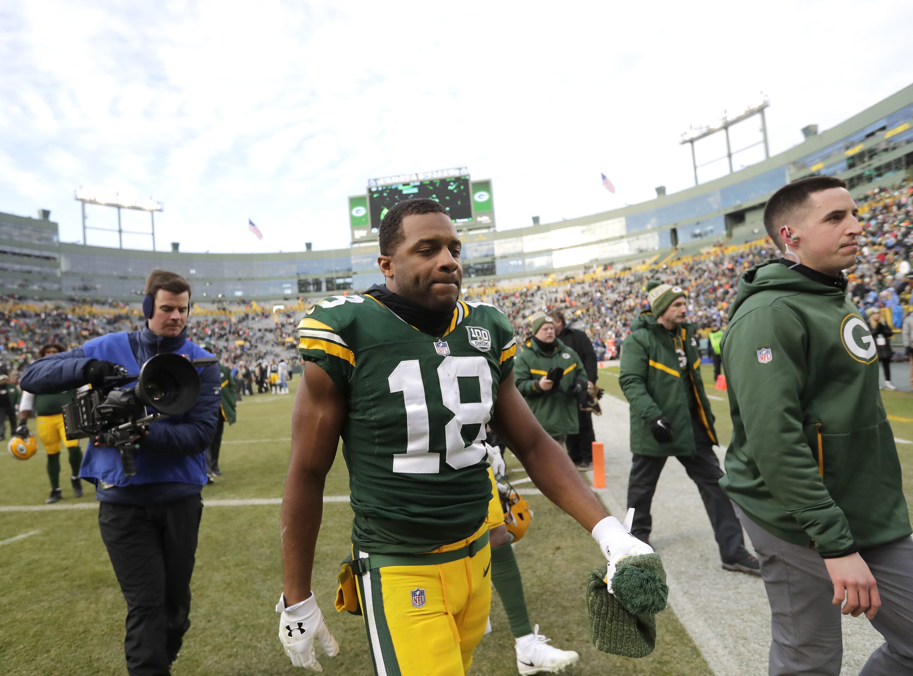 Green Bay Packers wide receiver Randall Cobb (18) leaves the field after a loss to the Detroit Lions Sunday, December 30, 2018, at Lambeau Field in Green Bay, Wis.  Dan Powers/USA TODAY NETWORK-Wisconsin