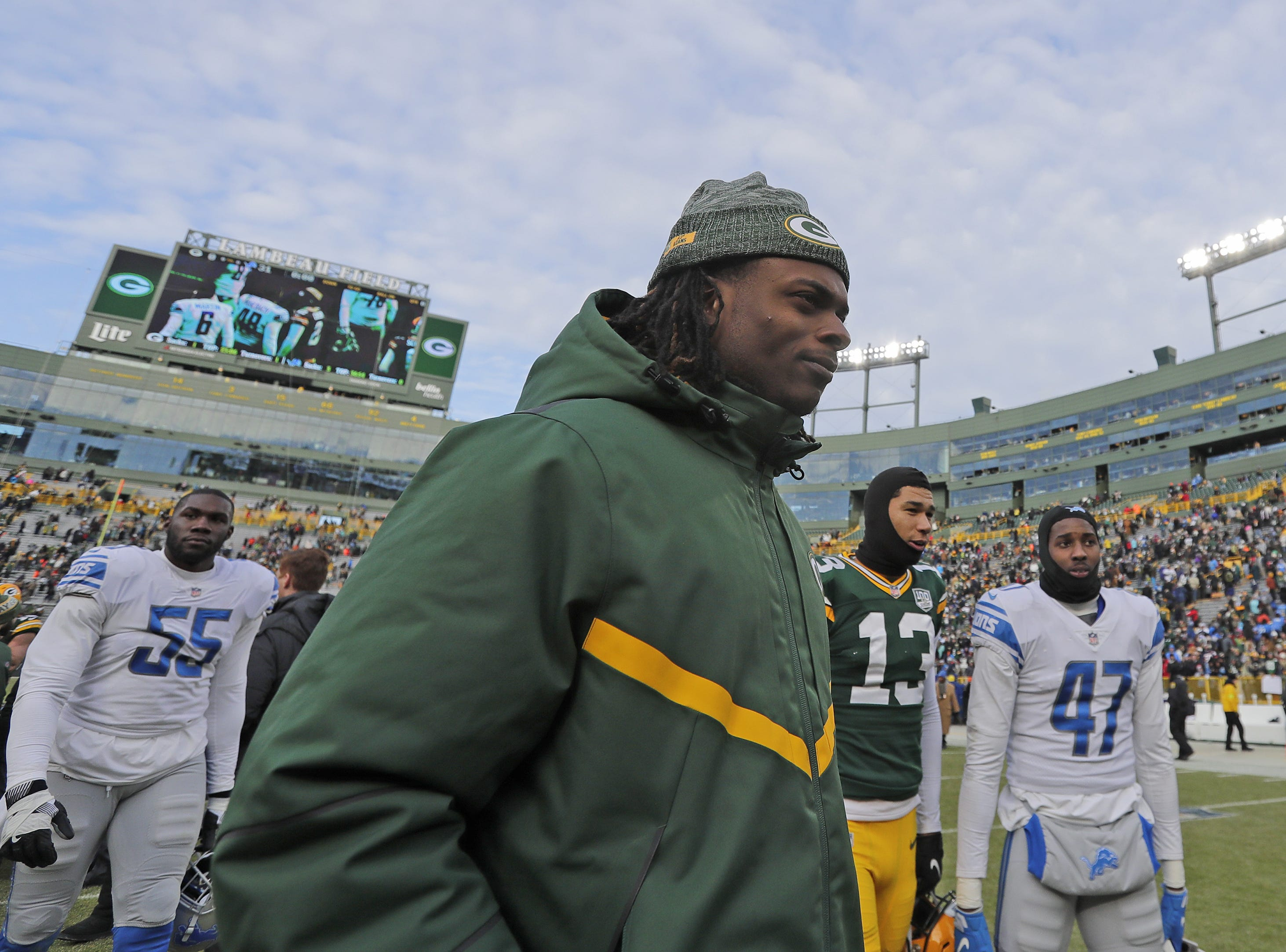 Green Bay Packers wide receiver Davante Adams (17) walks off the field after the Packers lost to the Detroit Lions at Lambeau Field on Sunday, December 30, 2018 in Green Bay, Wis. Adam Wesley/USA TODAY NETWORK-Wis