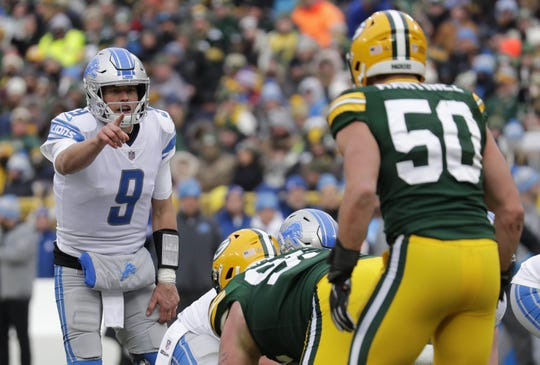 Detroit Lions quarterback Matthew Stafford (9) runs the offense against the Green Bay Packers Sunday, December 30, 2018, at Lambeau Field in Green Bay, Wis.  Dan Powers/USA TODAY NETWORK-Wisconsin