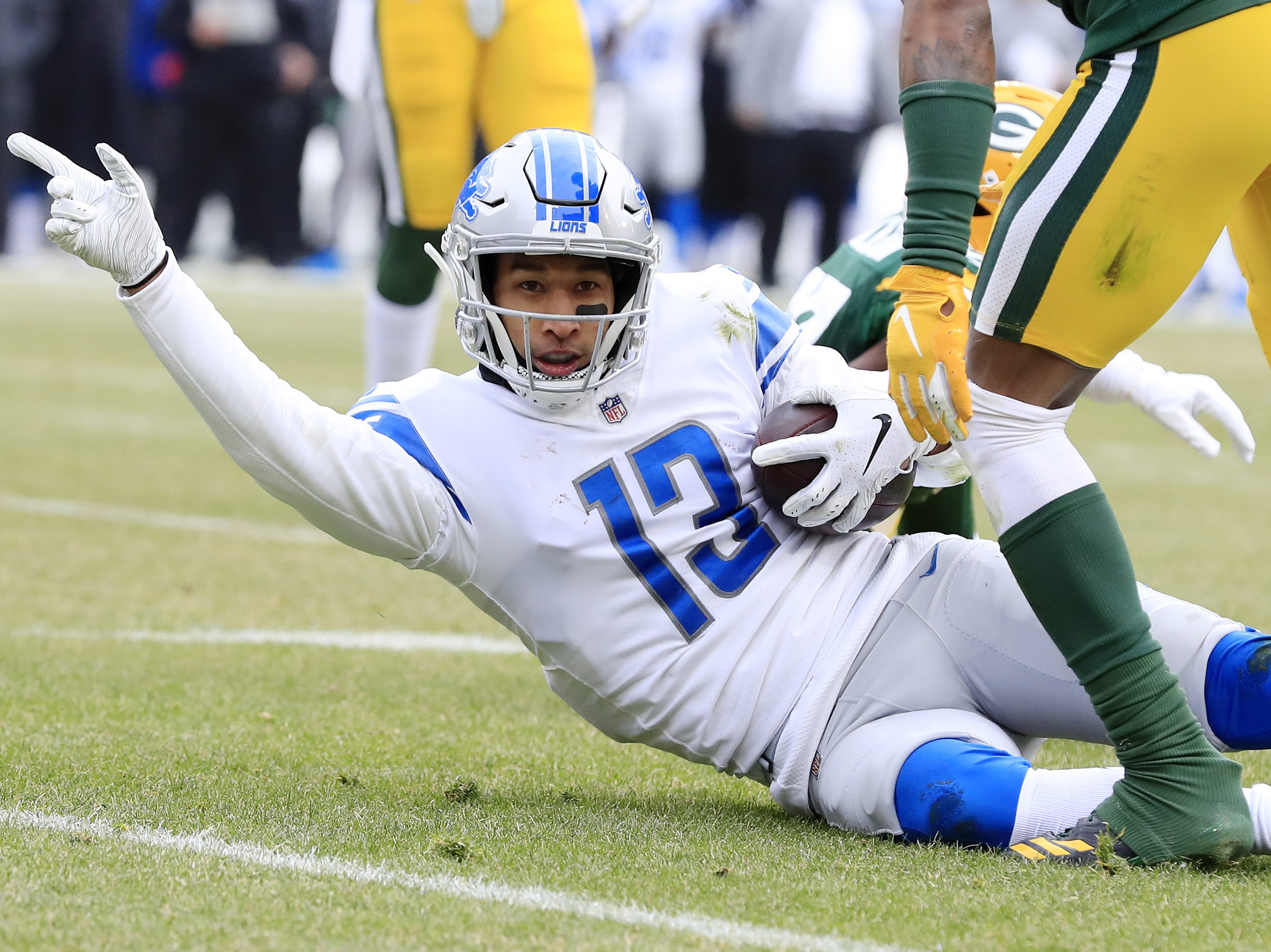 Detroit Lions wide receiver T.J. Jones (13) signals a first down in the first quarter against the Green Bay Packers at Lambeau Field on Sunday, December 30, 2018 in Green Bay, Wis. Adam Wesley/USA TODAY NETWORK-Wis