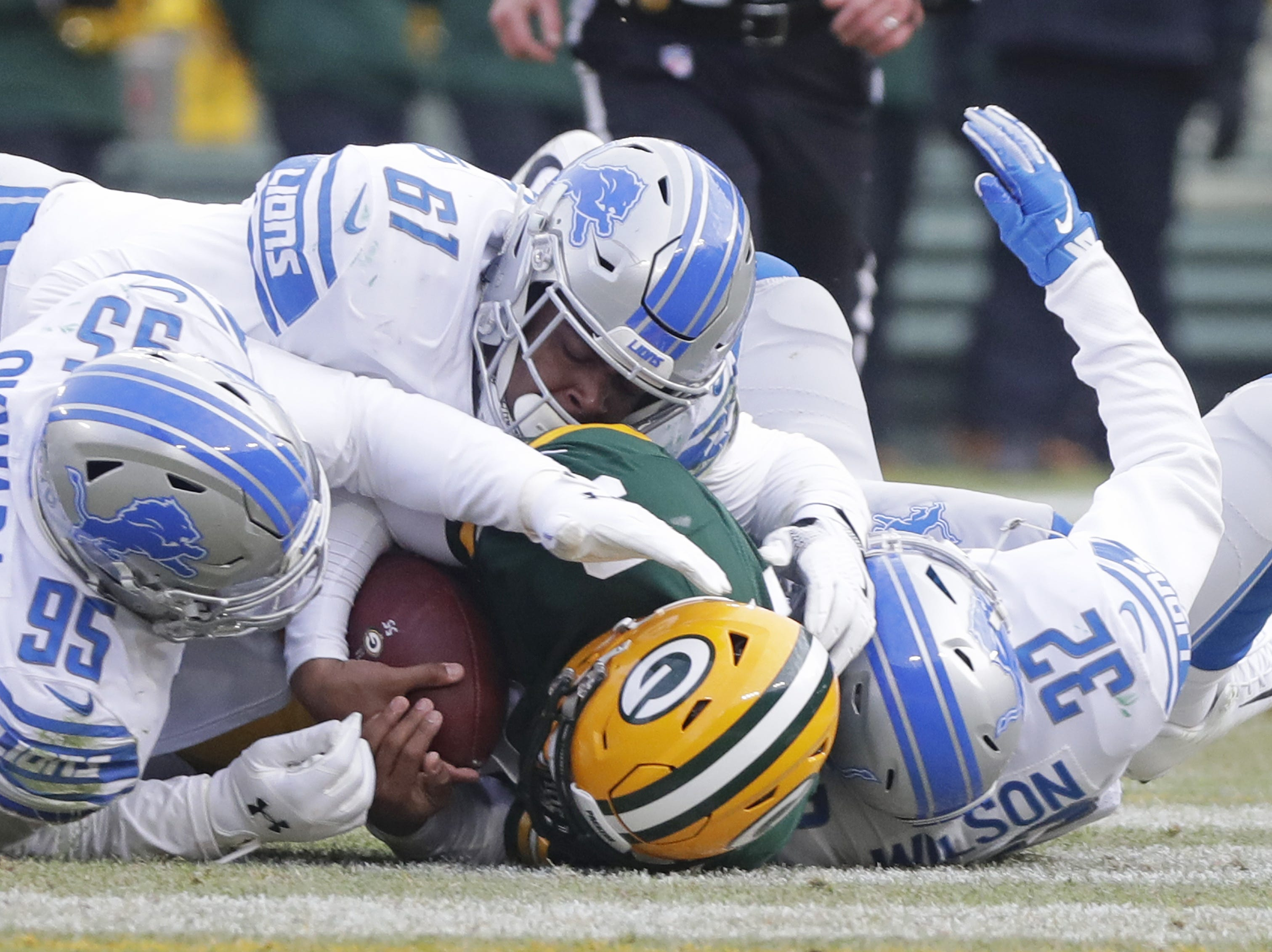 Green Bay Packers quarterback DeShone Kizer (9) is sacked in the fourth quarter against the Detroit Lions at Lambeau Field on Sunday, December 30, 2018 in Green Bay, Wis. Adam Wesley/USA TODAY NETWORK-Wis