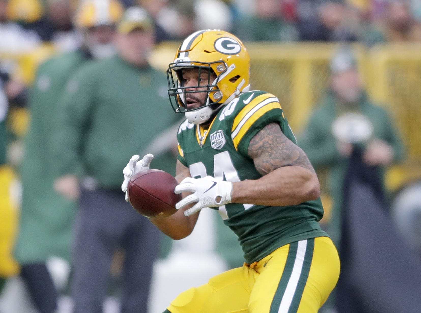 Green Bay Packers tight end Lance Kendricks (84) drops a short pass against the Detroit Lions at Lambeau Field Sunday, December 30, 2018 in Green Bay, Wis.