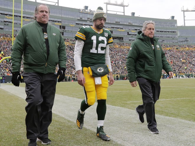 Green Bay Packers quarterback Aaron Rodgers (12) walks off the field during the second quarter at Lambeau Field on Sunday, December 30, 2018 in Green Bay, Wis. Adam Wesley/USA TODAY NETWORK-Wis