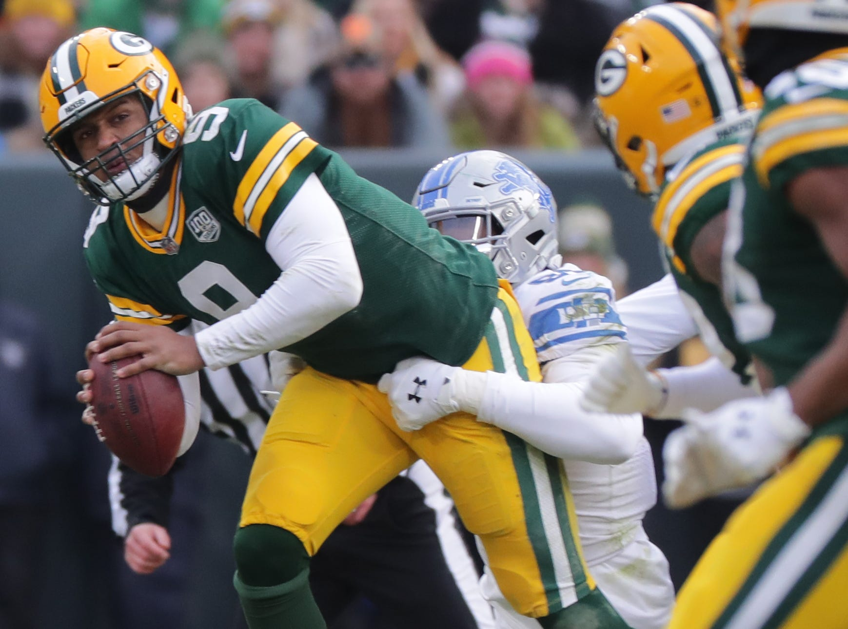Green Bay Packers quarterback DeShone Kizer (9) throws an interception during the fourth quarter of their game Sunday, December 30, 2018 at Lambeau Field in Green Bay, Wis. The Detroit Lions beat the Green Bay Packers 31-0.  MARK HOFFMAN/MILWAUKEE JOURNAL SENTINEL