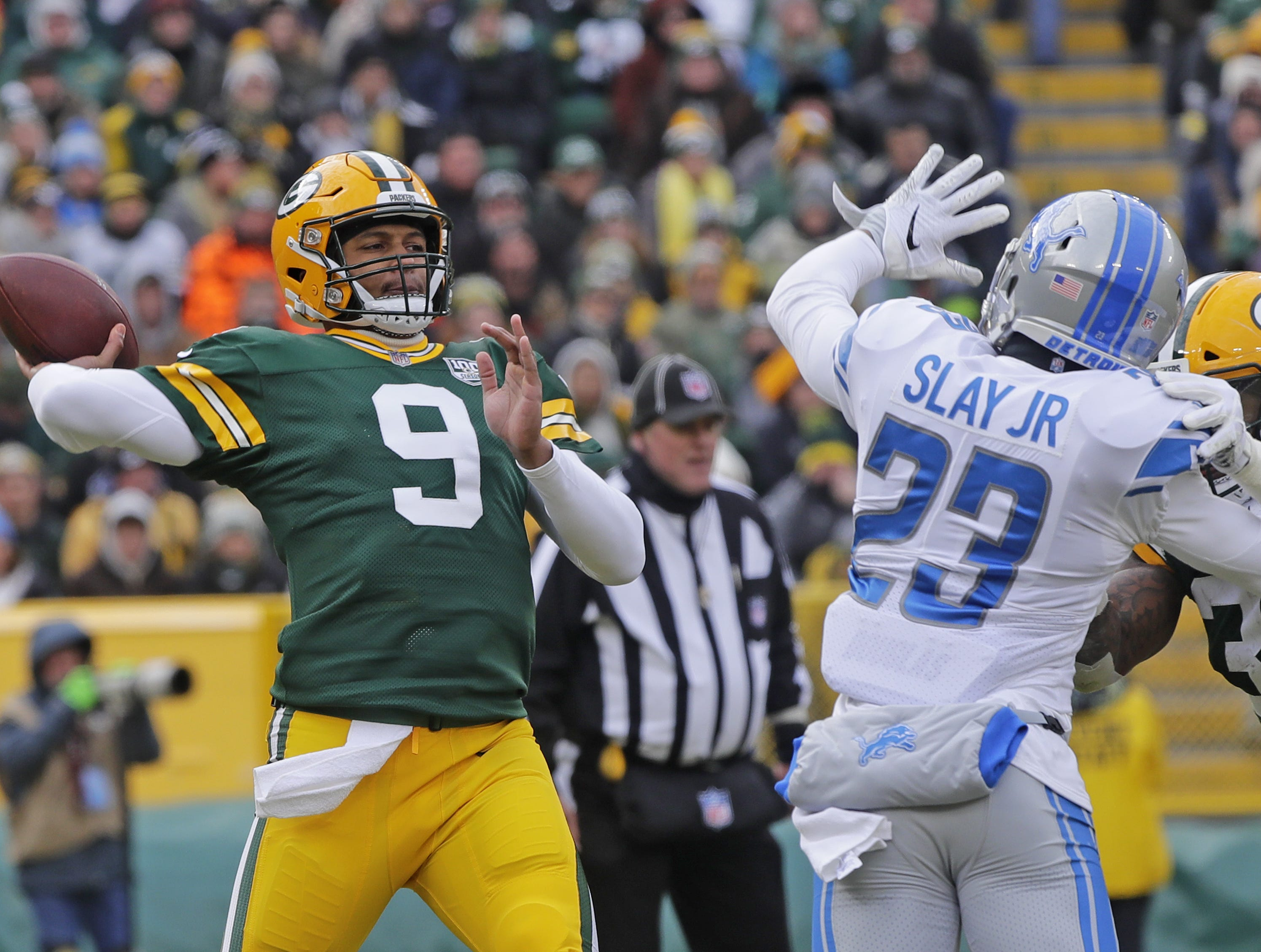 Green Bay Packers quarterback DeShone Kizer (9) throws in the third quarter against the Detroit Lions at Lambeau Field on Sunday, December 30, 2018 in Green Bay, Wis. Adam Wesley/USA TODAY NETWORK-Wis