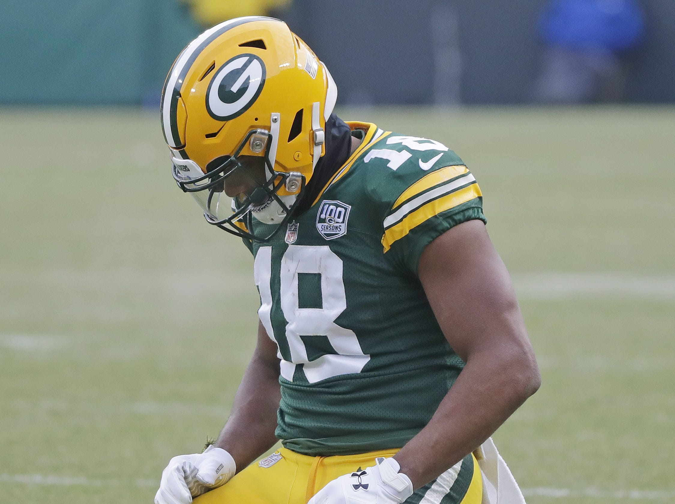 Green Bay Packers wide receiver Randall Cobb (18) kneels on the field after dropping the ball in the fourth quarter against the Detroit Lions at Lambeau Field on Sunday, December 30, 2018 in Green Bay, Wis. Adam Wesley/USA TODAY NETWORK-Wis