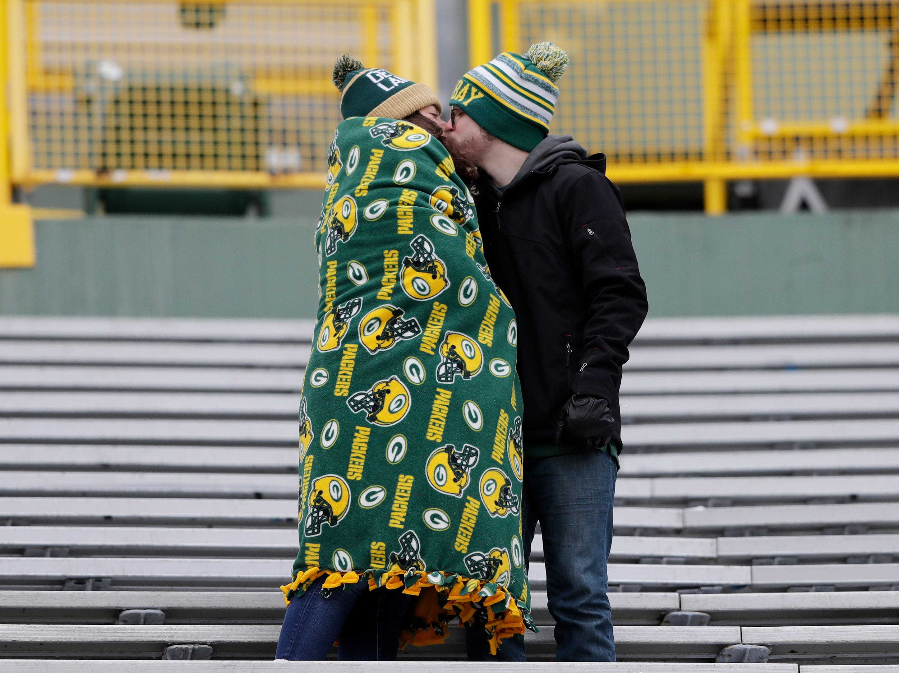 Fans arrive for the Green Bay Packers against the Detroit Lions at Lambeau Field on Sunday, December 30, 2018 in Green Bay, Wis.