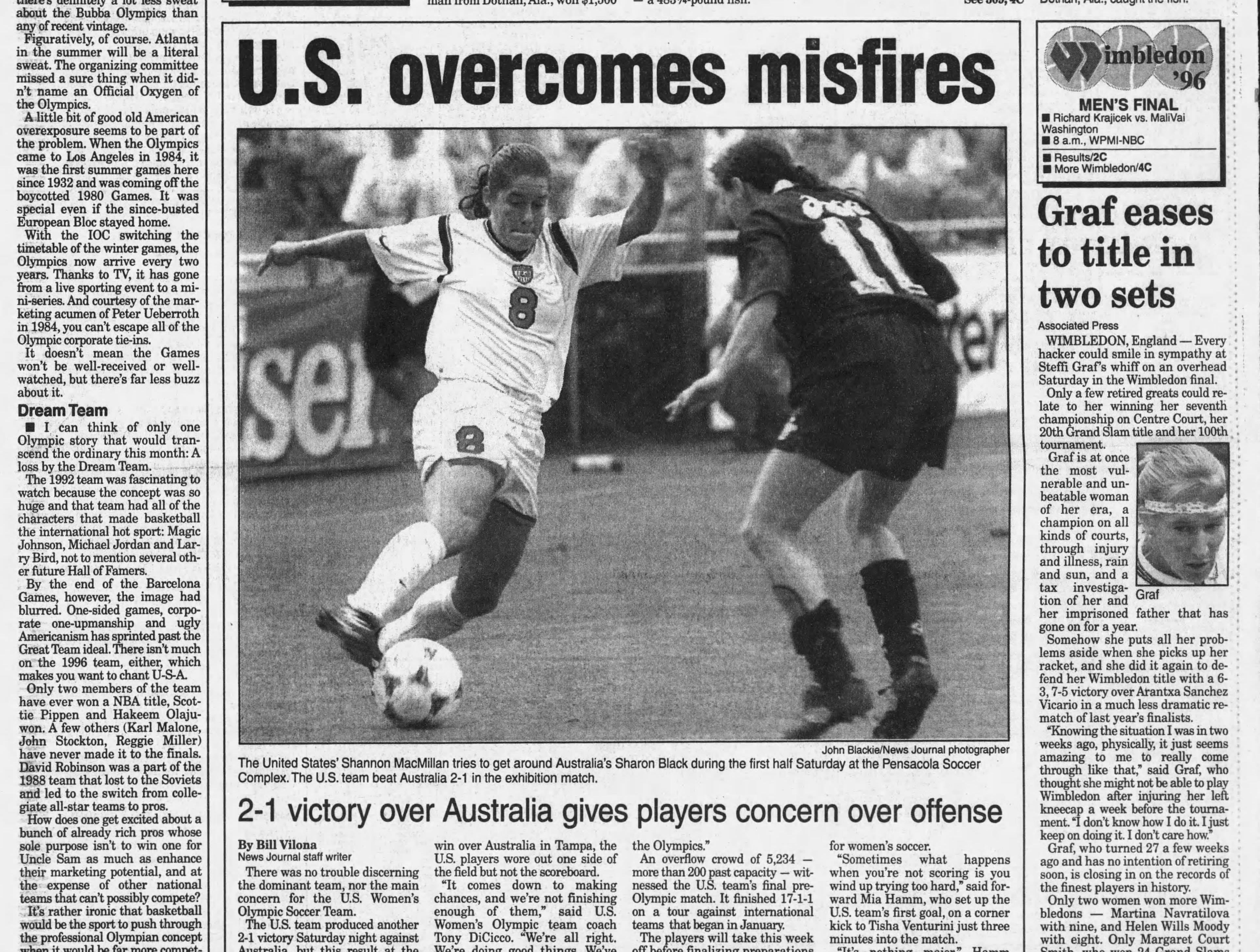July 1996: US Olympic women's soccer team plays in Pensacola with legends Mia Hamm and Brandi Chastain.