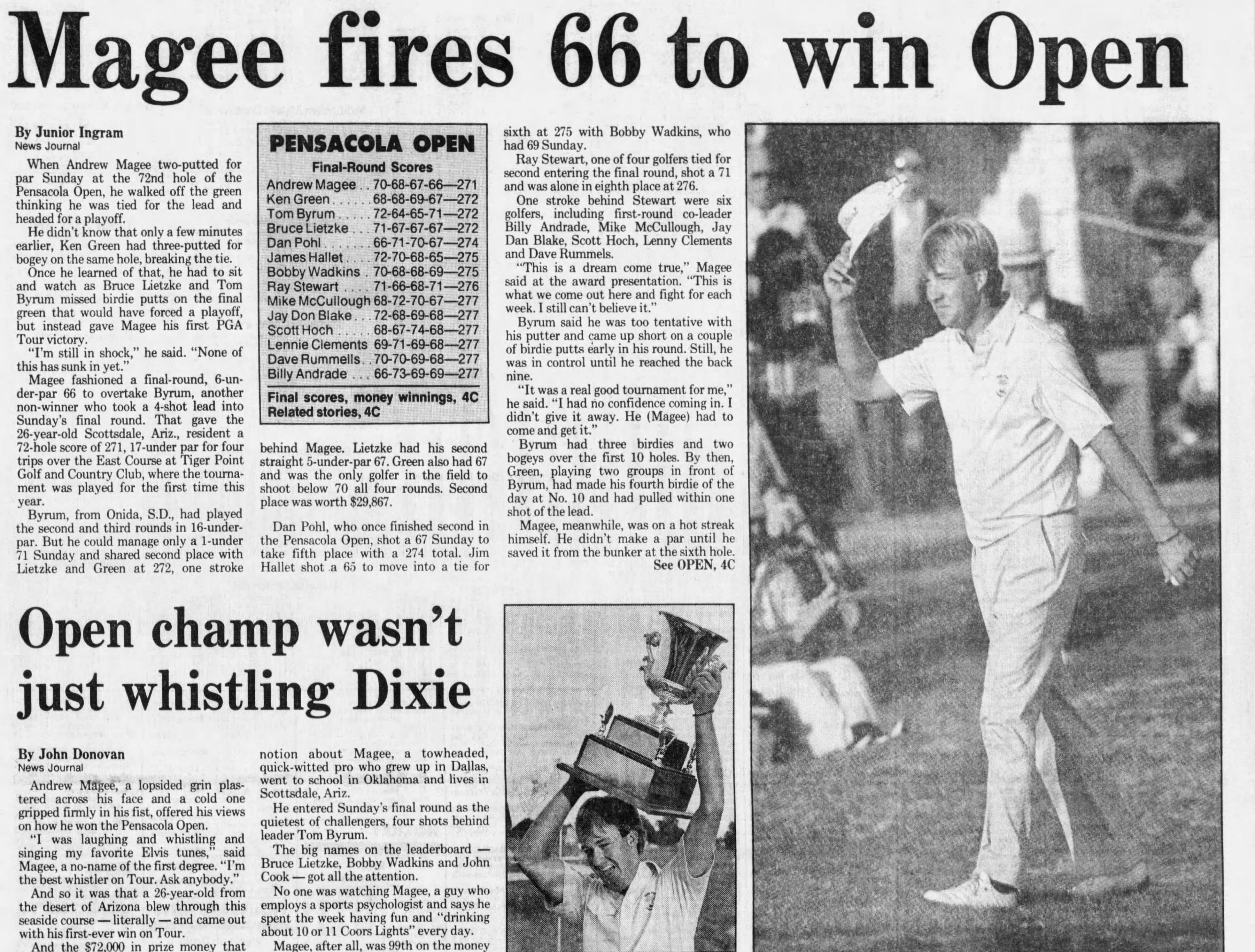 Oct. 1988: Pensacola hosts final PGA Tour event with Pensacola Open.