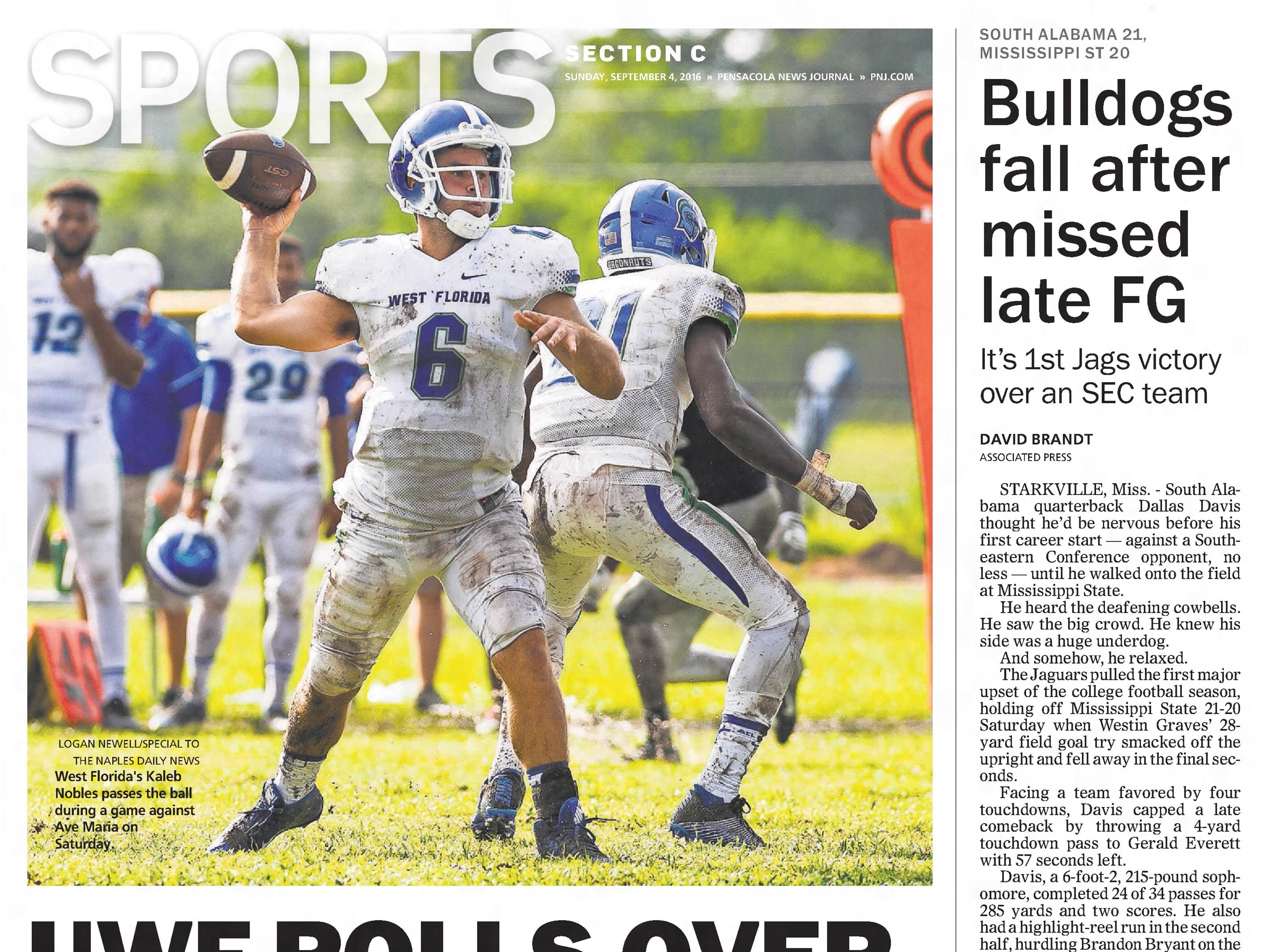 Sept. 2016: UWF plays first football game in school history, topping Ave Maria in rout.
