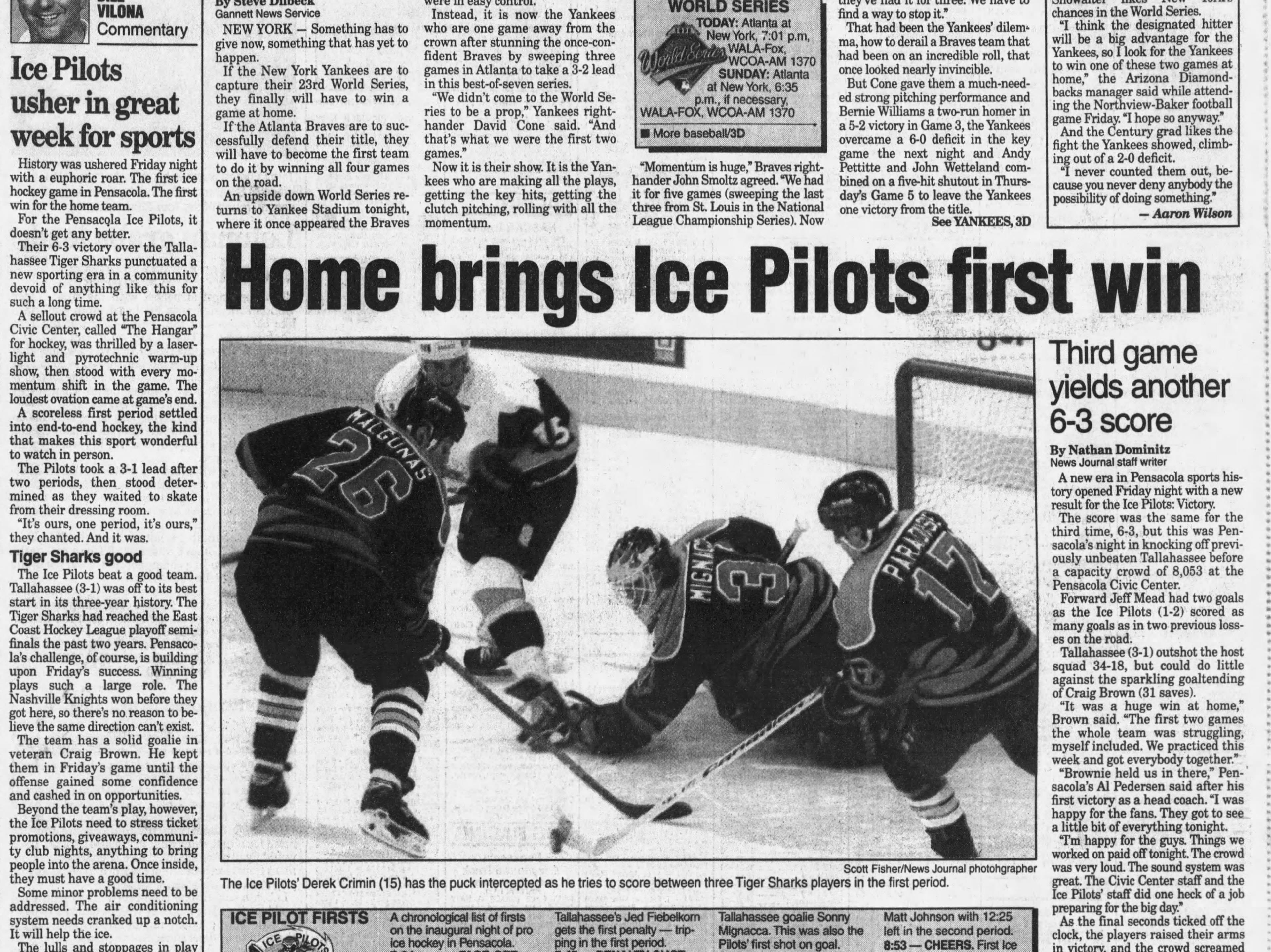 Oct. 1996: Pensacola Ice Pilots bring pro hockey to town.