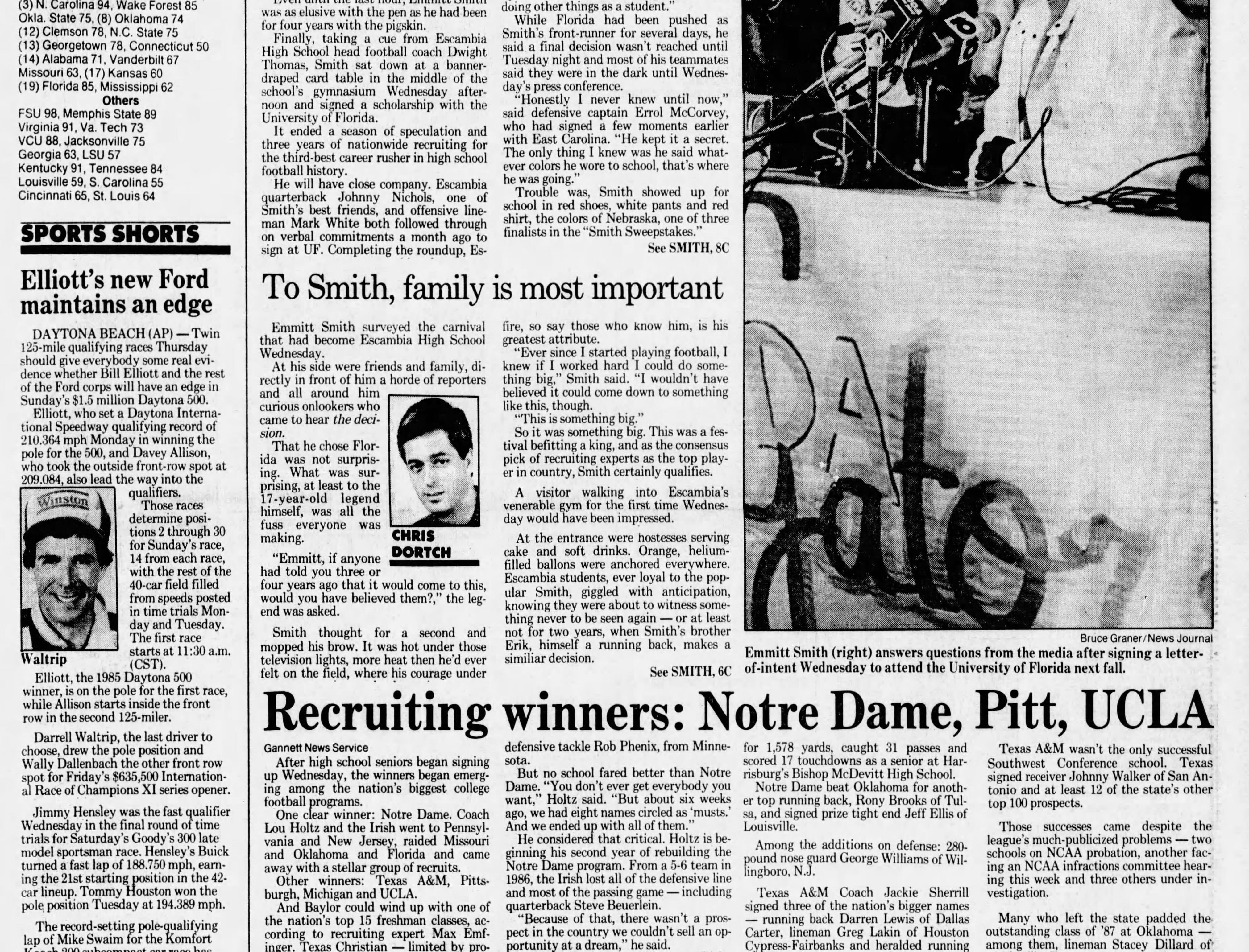 Feb, 12, 1987: Escambia High running back Emmitt Smith signs with the University of Florida.