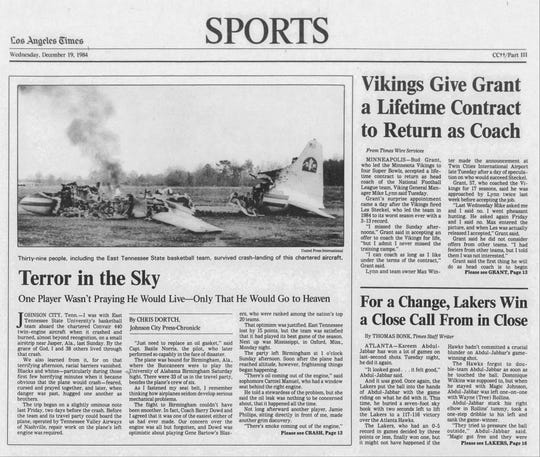 The cover of the Los Angeles Times sports section from Dec. 19. 1984, showed the plane that crash landed carrying the East Tennessee State men's basketball team and PNJ Sports Columnist Bill Vilona.