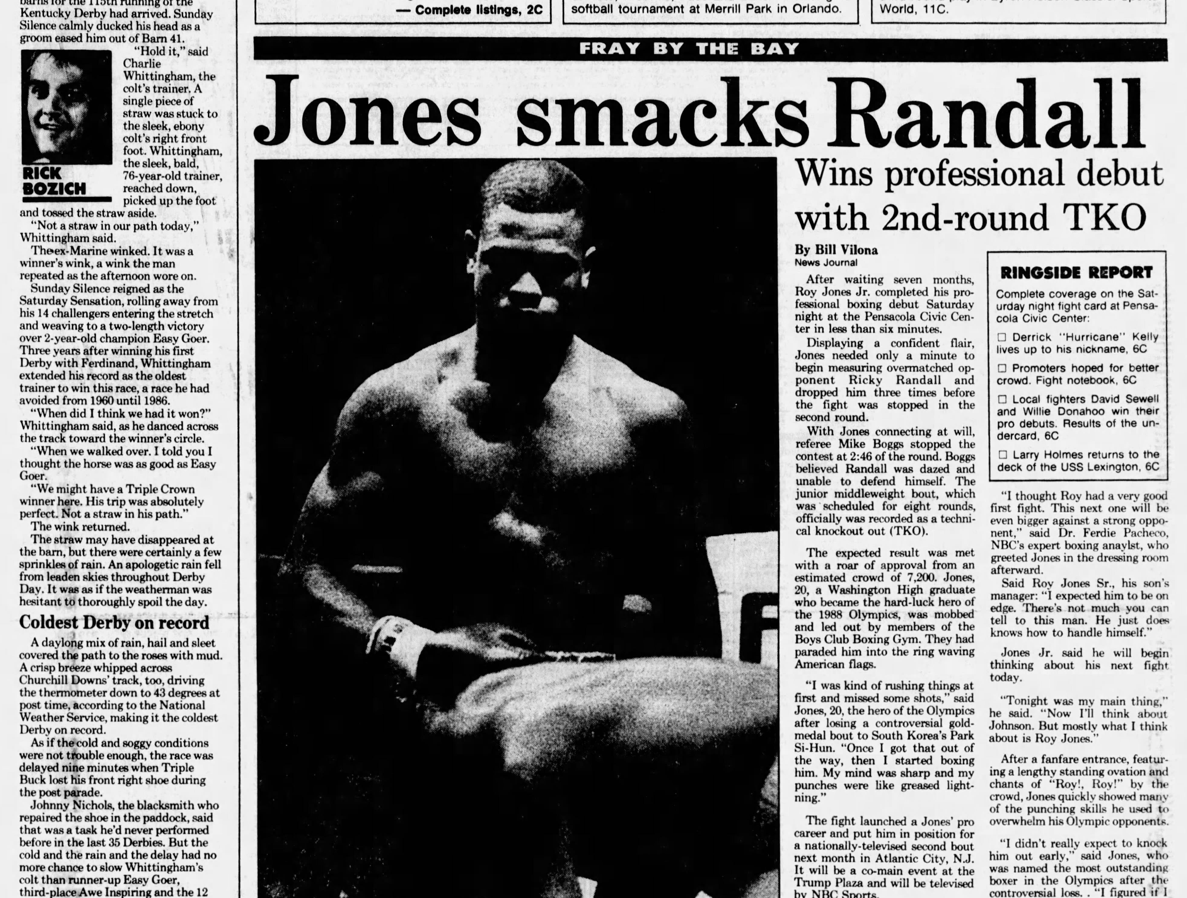 May 1989: Roy Jones Jr. makes pro boxing debut in Pensacola.