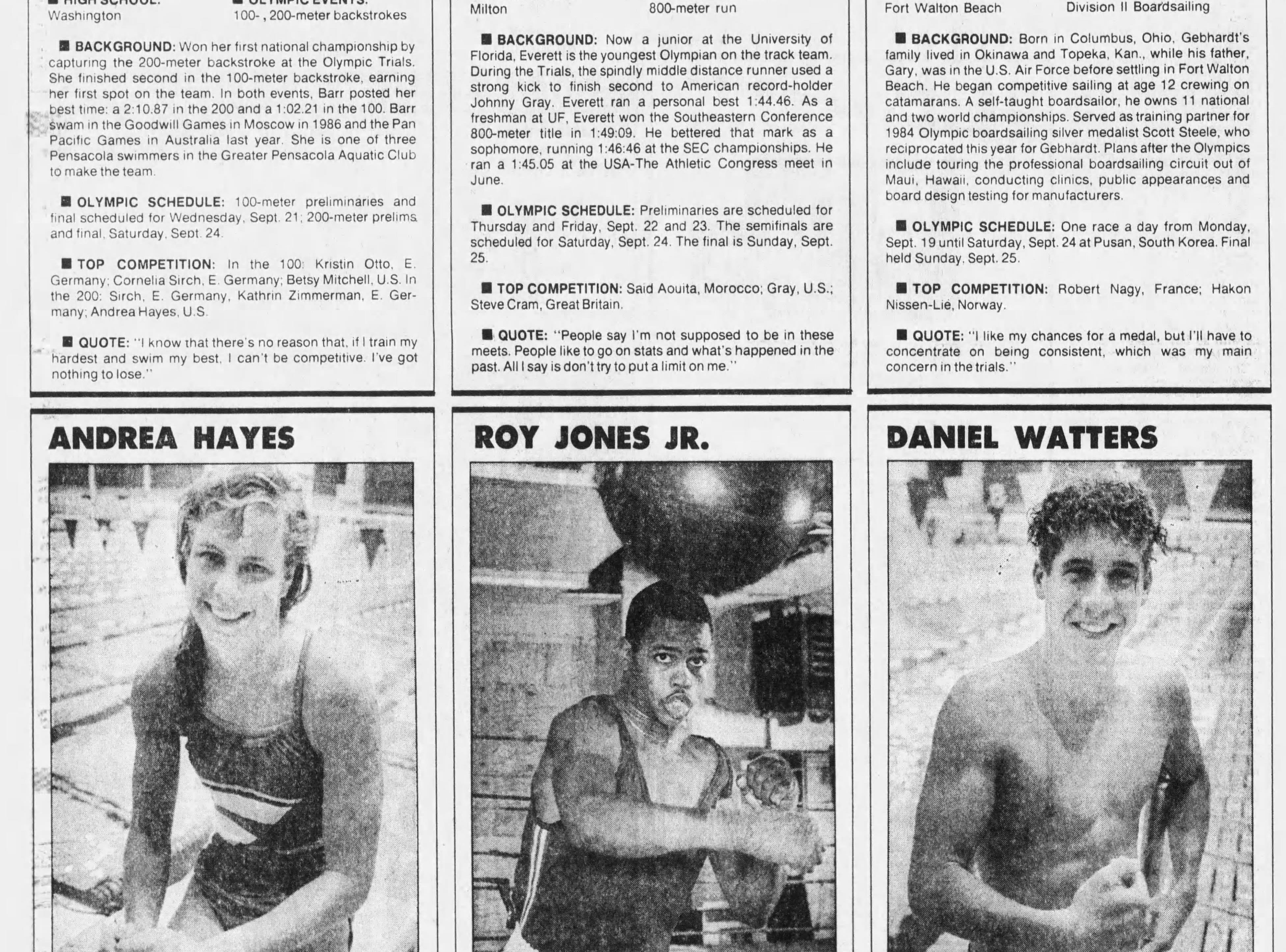 Sept. 1988: Pensacola sends a record number of athletes to the Summer Olympics.