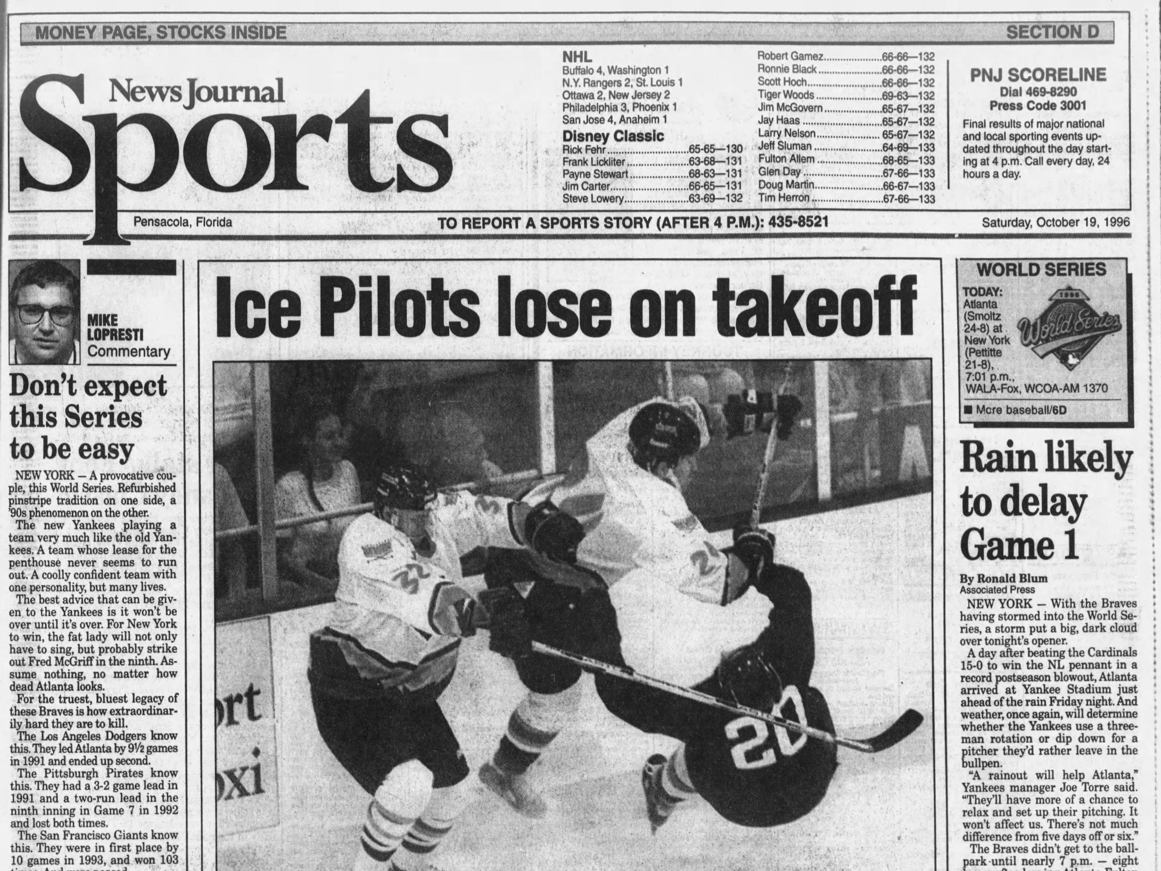 Oct. 1996: Pensacola Ice Pilots make pro hockey debut.
