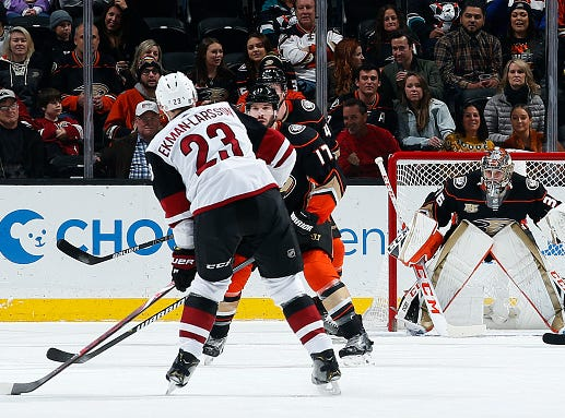 ANAHEIM, CA - DECEMBER 29:  Oliver Ekman-Larsson #23 of the Arizona Coyotes winds up for a shot and goal against John Gibson #36 and Ryan Kesler #17 of the Anaheim Ducks during the game on December 29, 2018 at Honda Center in Anaheim, California. (Photo by Debora Robinson/NHLI via Getty Images)