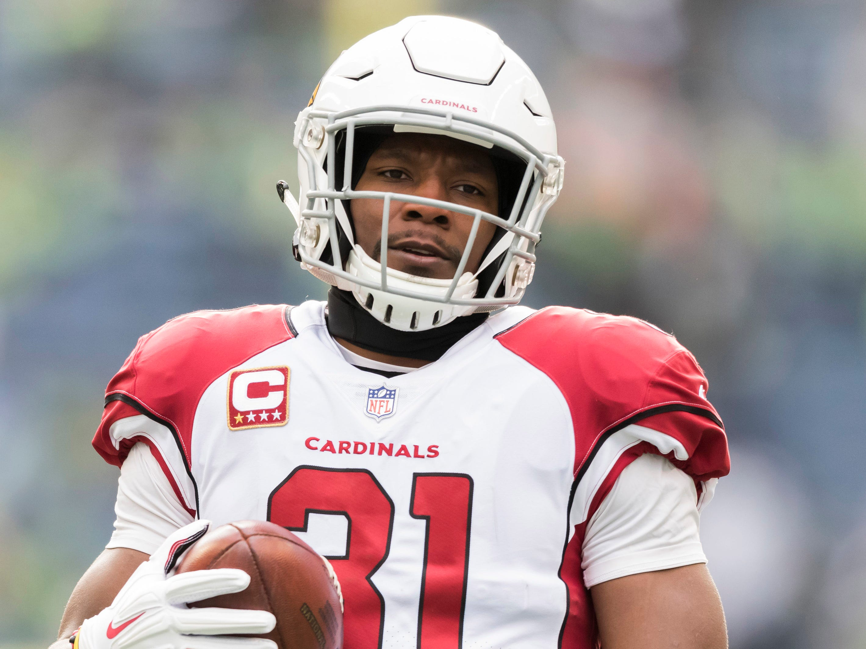 Dec 30, 2018; Seattle, WA, USA; Arizona Cardinals running back David Johnson (31) during warmups prior to the game against the Seattle Seahawks at CenturyLink Field. Mandatory Credit: Steven Bisig-USA TODAY Sports