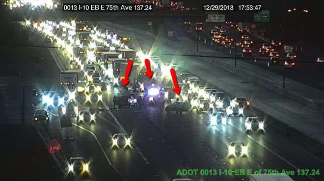Three lanes of I-10 eastbound at 75th Avenue are blocked following a crash.