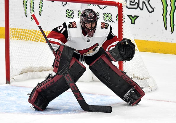 Coyotes goaltender Adin Hill is 7-3-0 since he was called up from the AHL.