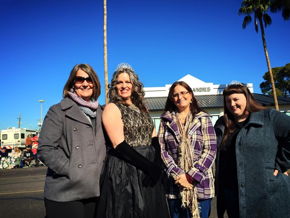 Karen Bayless Feldman, queen of the Fiesta Bowl Parade route, with friends Heather Williams Cates, Christina Enright and Christine Thomas Hunter.