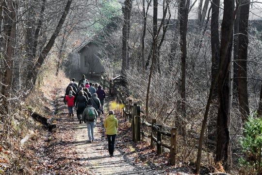 A group hikes at Nixon Park in York County in 2018.