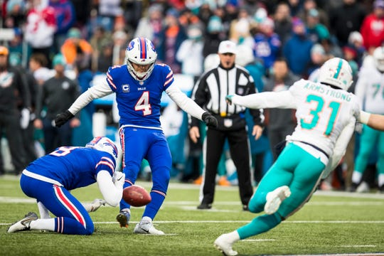 ORCHARD PARK, NY - DECEMBER 30:  Stephen Hauschka #4 of the Buffalo Bills kicks a point after try during the first quarter against the Miami Dolphins at New Era Field on December 30, 2018 in Orchard Park, New York.  (Photo by Brett Carlsen/Getty Images)