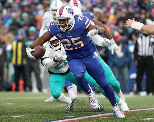 Bills running back LeSean McCoy looks for running room against Miami.