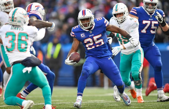 Buffalo Bills running back LeSean McCoy (25) rushes for a 9-yard touchdown during the second half of an NFL football game against the Miami Dolphins, Sunday, Dec. 30, 2018, in Orchard Park, N.Y. (AP Photo/Adrian Kraus)