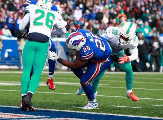 Dec 30, 2018; Orchard Park, NY, USA; Buffalo Bills running back LeSean McCoy (25) runs the ball in for a touchdown during the second half against the Miami Dolphins at New Era Field. Mandatory Credit: Timothy T. Ludwig-USA TODAY Sports