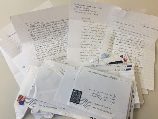 Letters from the Mennonite community sent to the Democrat and Chronicle editorial staff in support of Elizabeth Catlin after her arrest.