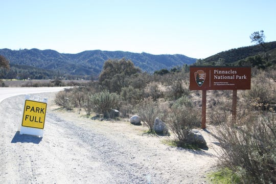 At Pinnacles the 'Full' sign is still up from two weekends ago, before the government shutdown sent the Park Rangers home.