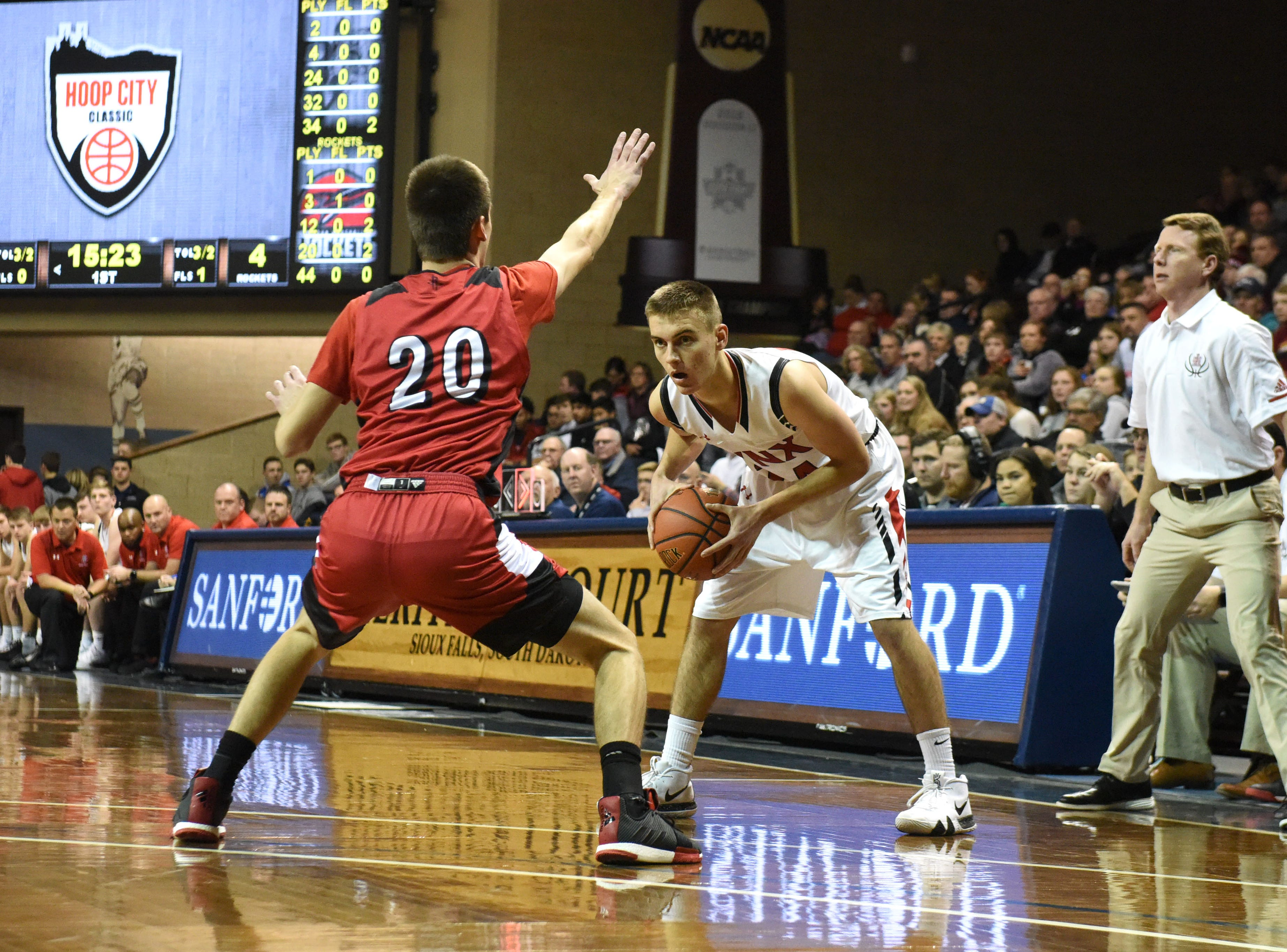 Brandon Valley's Evan Talcott (24) looks to pass the ball during a game against John Marshall at the Hoop City Classic at the Sanford Pentagon in Sioux Falls, S.D., Saturday, Dec. 29, 2018.