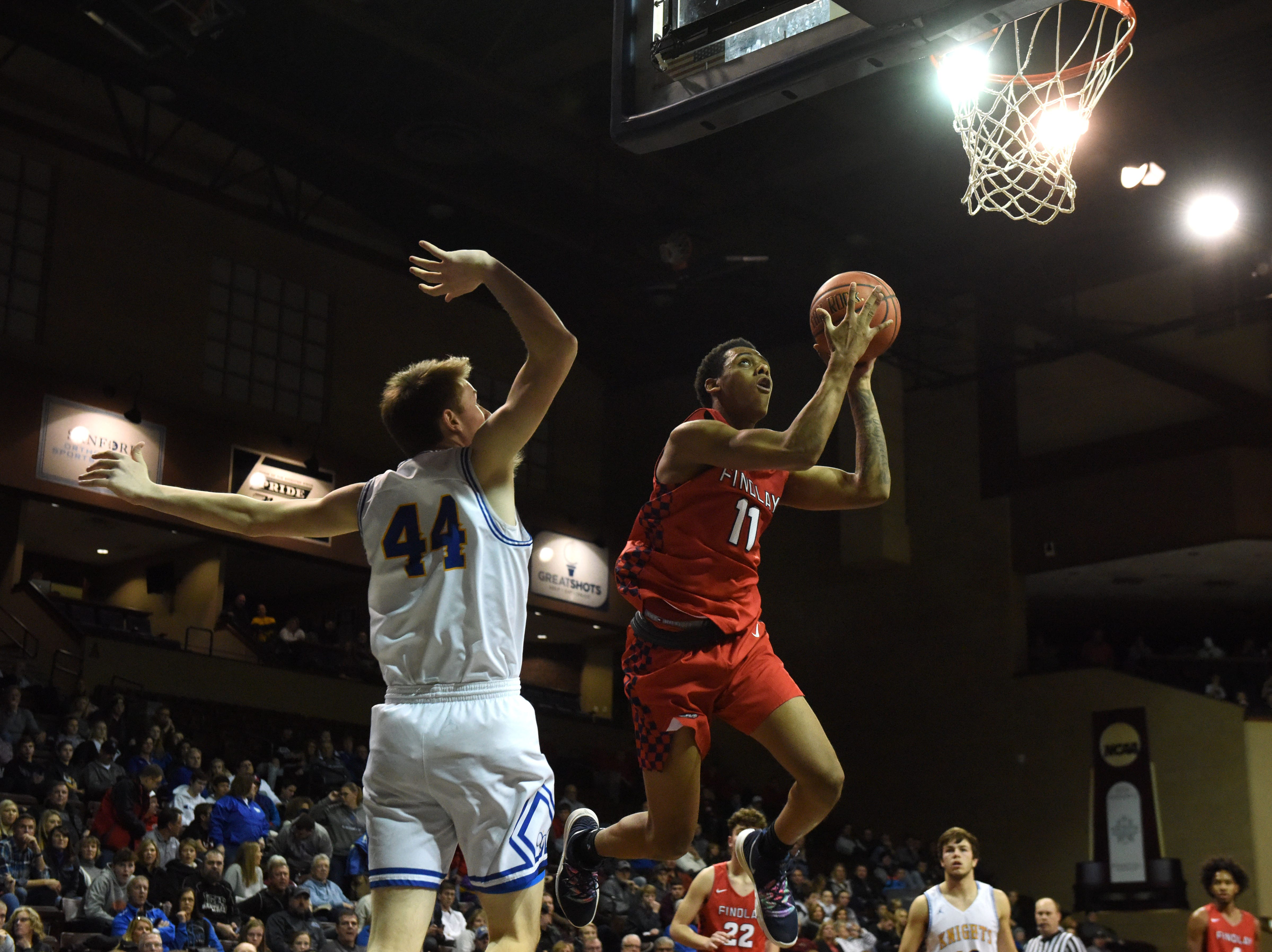 Findlay Prep's Taryn Todd (11) goes up for a shot during a game against O'Gorman at the Hoop City Classic at the Sanford Pentagon in Sioux Falls, S.D., Saturday, Dec. 29, 2018.