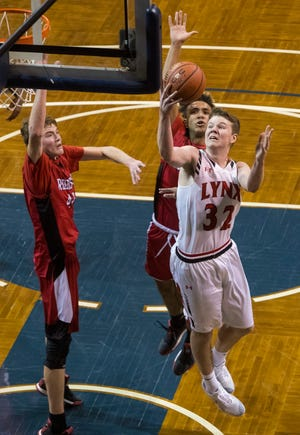 Brandon Valley's Alex Tietjen (32) goes up for a shot during a game against John Marshall at the Hoop City Classic at the Sanford Pentagon in Sioux Falls, S.D., Saturday, Dec. 29, 2018.