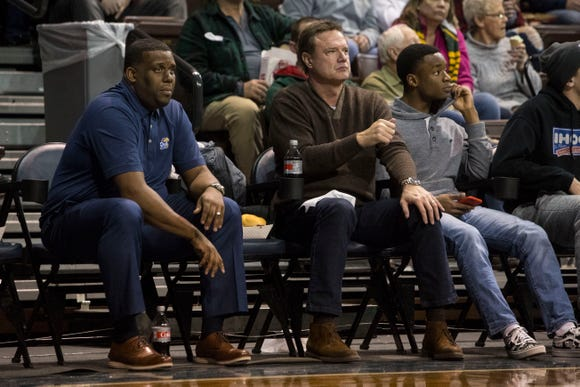 Kansas coach Bill Self watches the Brandon Valley and John Marshall game during the Hoop City Classic at the Sanford Pentagon in Sioux Falls, S.D., Saturday, Dec. 29, 2018.