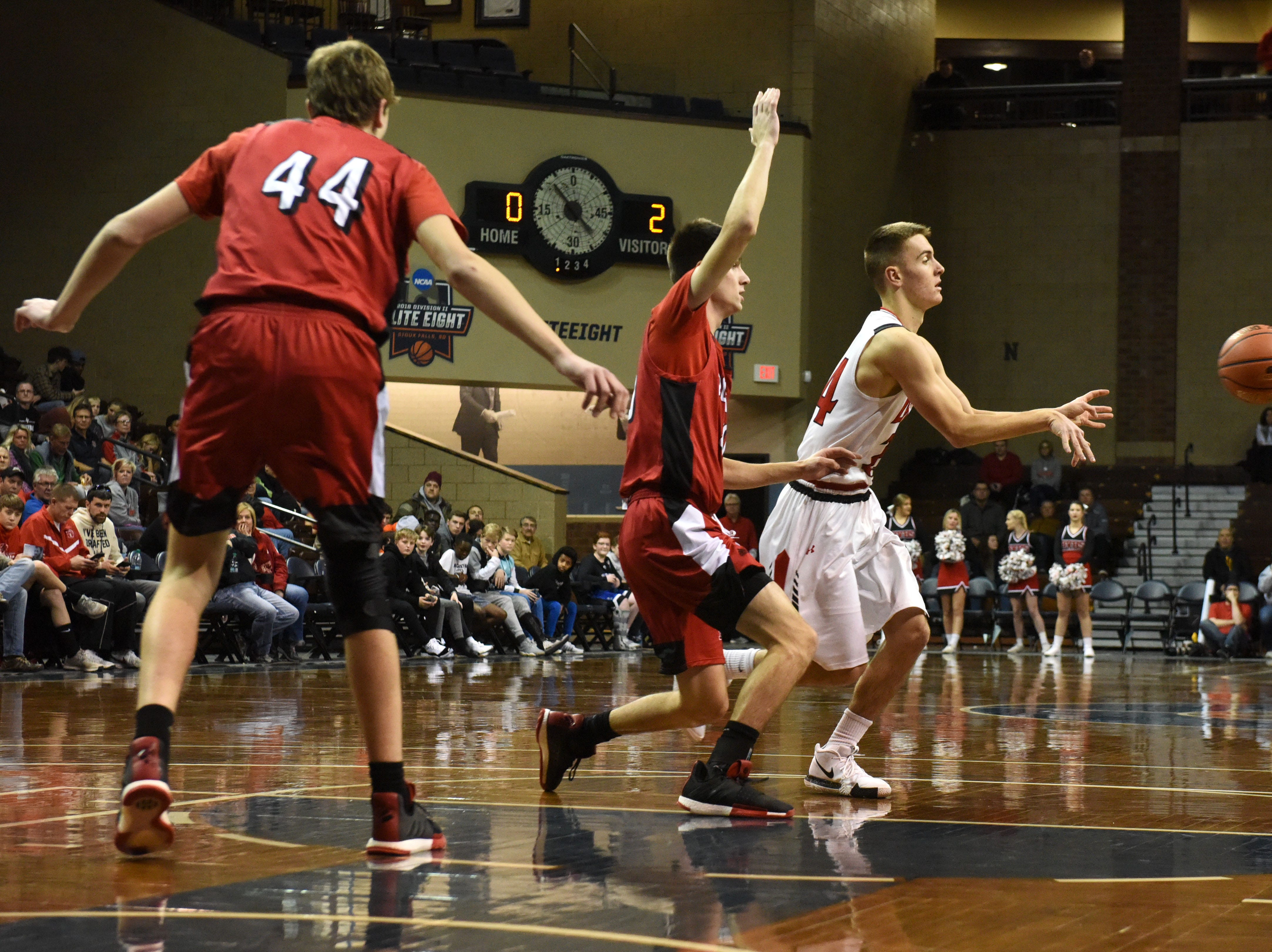 Brandon Valley's Evan Talcott (24) passes the ball during a game against John Marshall at the Hoop City Classic at the Sanford Pentagon in Sioux Falls, S.D., Saturday, Dec. 29, 2018.