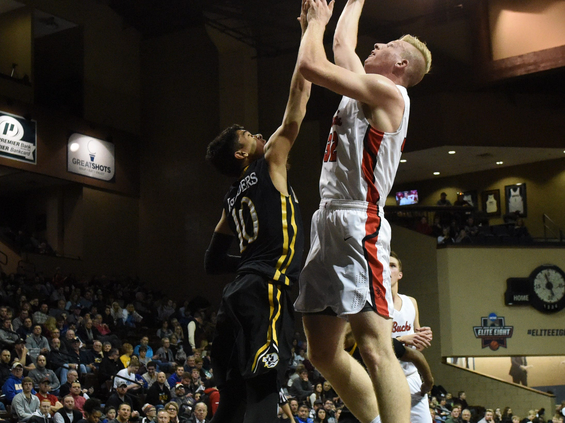 Yankton's Matthew Mors (32) shoots the ball during a game against DeLaSalle at the Hoop City Classic at the Sanford Pentagon in Sioux Falls, S.D., Saturday, Dec. 29, 2018.