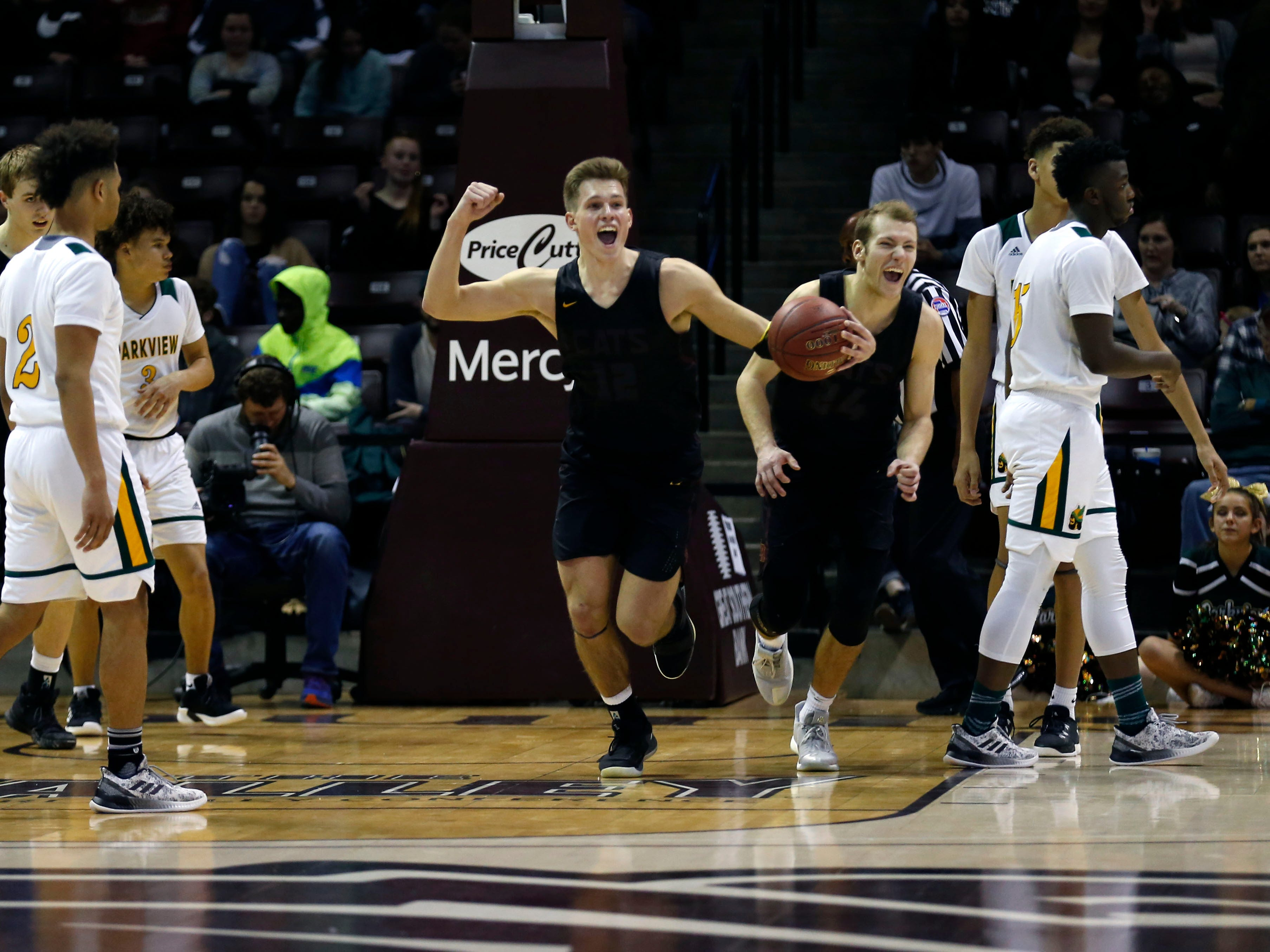 Logan-Rogersville's Luke Vandersnick celebrates after the Wildcats beat the Parkview Vikings in the championship Blue Division game during the 2018 Blue and Gold Tournament at JQH Arena on Saturday, Dec. 29, 2018.