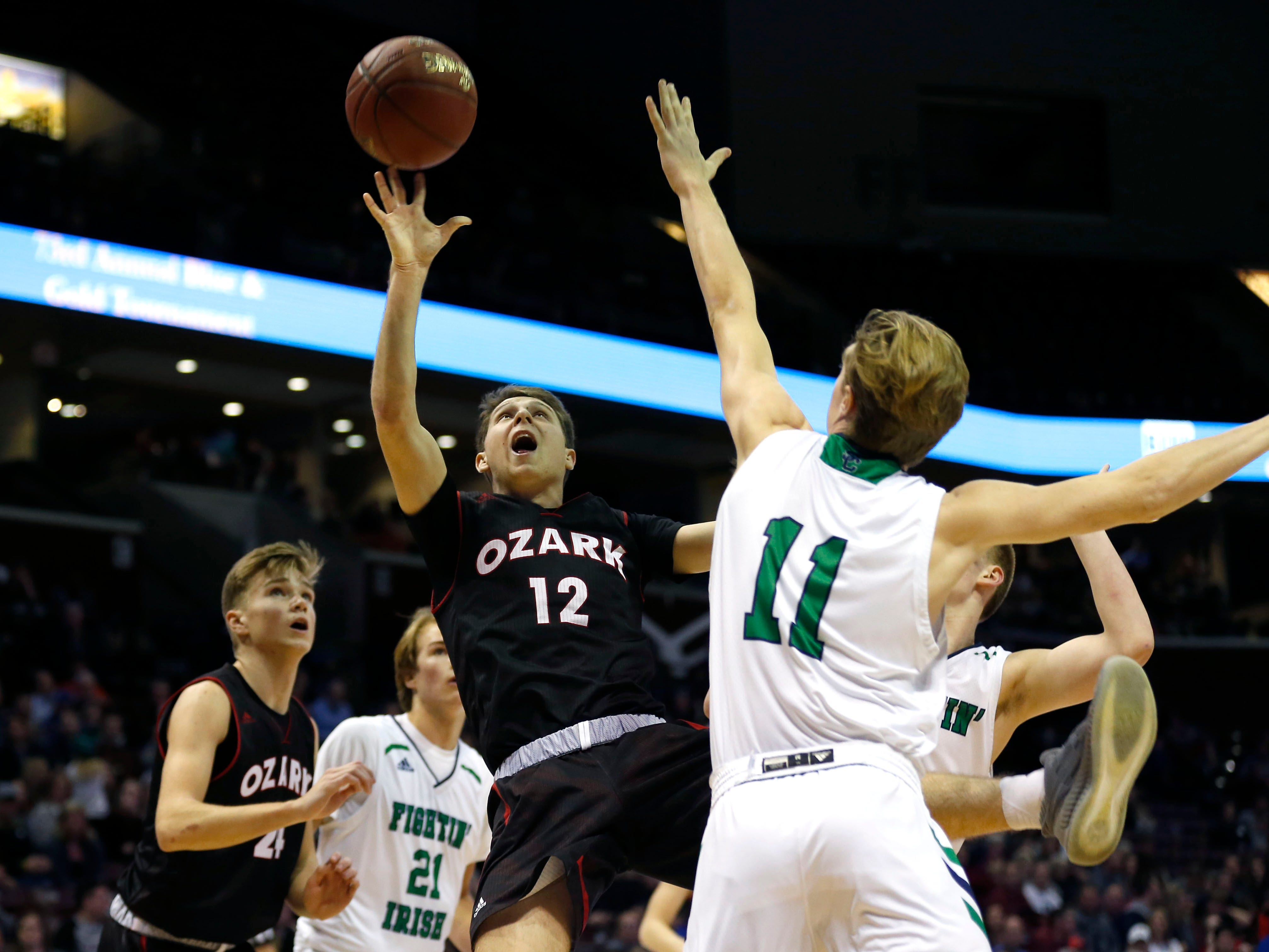 The Catholic Fighting Irish take on the Ozark Tigers in the championship Gold Division game during the 2018 Blue and Gold Tournament at JQH Arena on Saturday, Dec. 29, 2018.